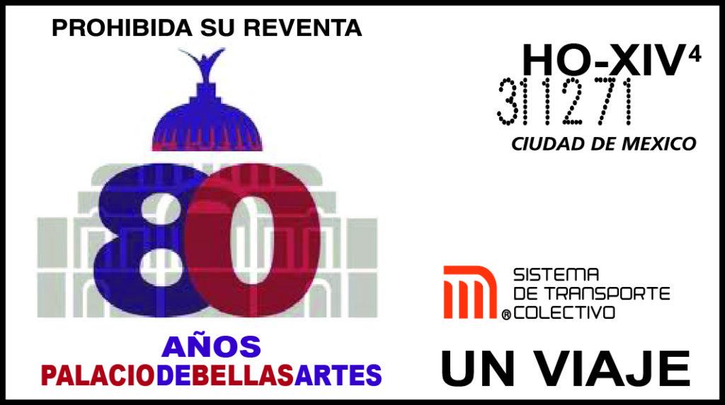 Boleto conmemorativo del 80 aniversario del Palacio de Bellas Artes