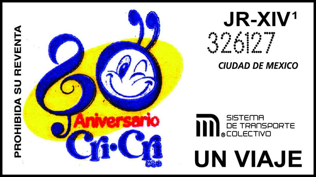 """Boleto conmemorativo del 80 aniversario de la primera transmisión radiofónica de las canciones de Gabilondo Soler """"Cri-Cri"""""""