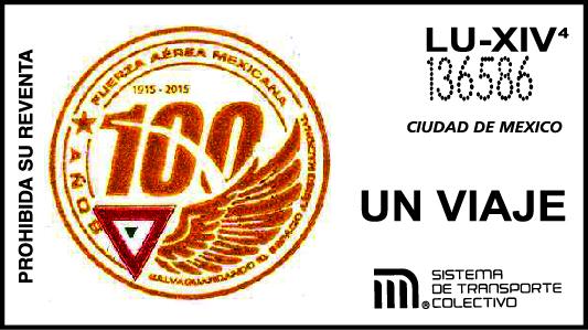 Boleto conmemrativo de celebración de los 100 años de la Fuerza Aérea Mexicana
