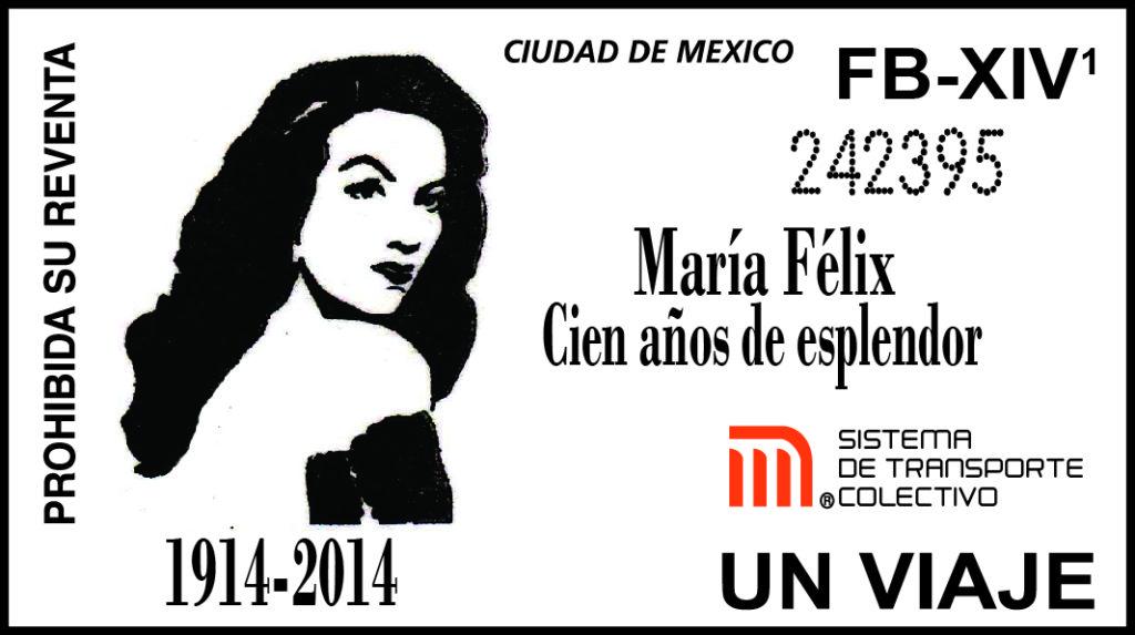 Boleto conmemorativo del centenario del natalicio de María Félix