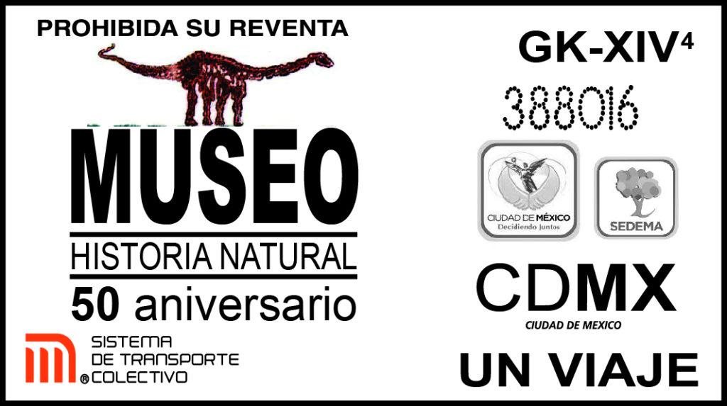 Boleto conmemorativo del 50 aniversario del Museo de Historia Natural